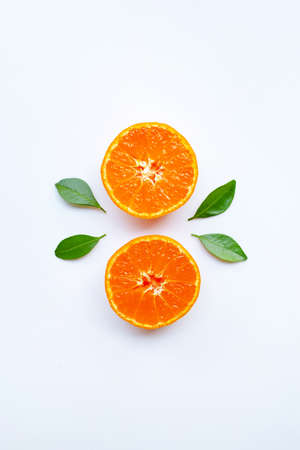Orange fruits and green leaves on a white background. Top view