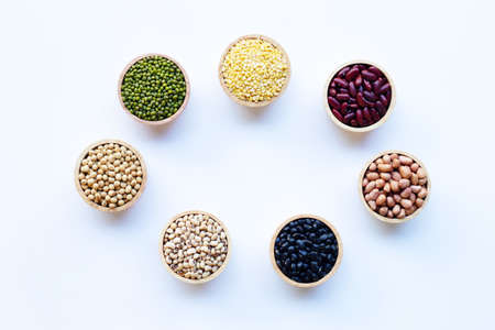 Mixed beans, Different legumes isolated on white background. 版權商用圖片