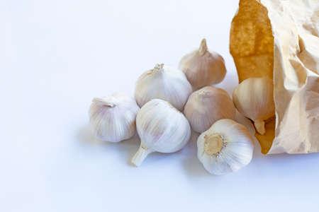 Garlic on white background.