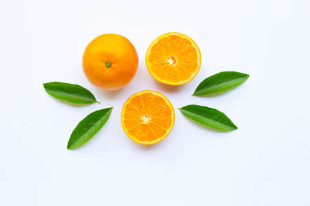 High vitamin C, Fresh orange citrus fruit on white background.