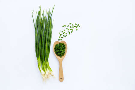 green onions isolated on white background 版權商用圖片