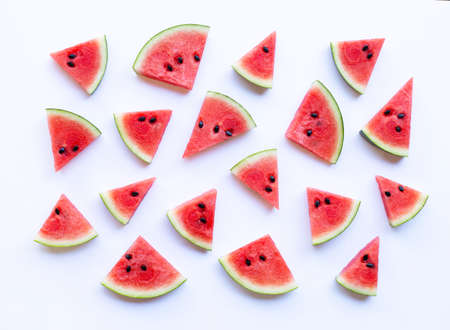 Watermelon sliced on white background. Top view Stock fotó