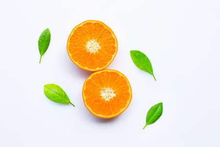 Fresh orange citrus fruits on white background.
