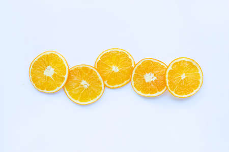 Fresh orange citrus fruit on white background