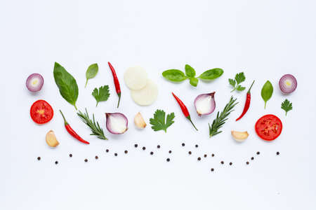 Various fresh vegetables and herbs on white background. Healthy eating concept Stock fotó