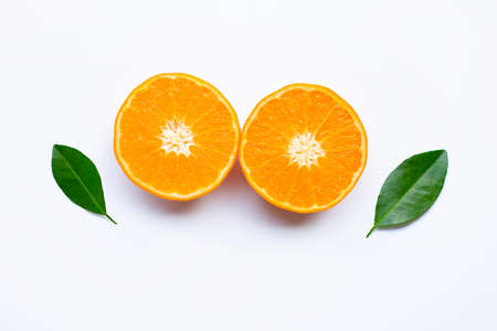 Fresh orange citrus fruits  on white background.