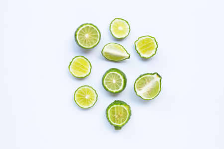 Bergamot kaffir lime herb fresh ingredient isolated on white background.