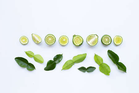 Bergamot kaffir lime herb fresh with leaves ingredient isolated on white background.