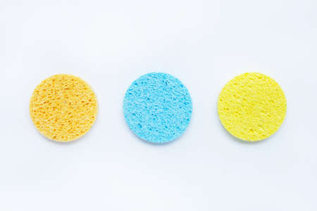 Sponge for face make-up cleaning on white background