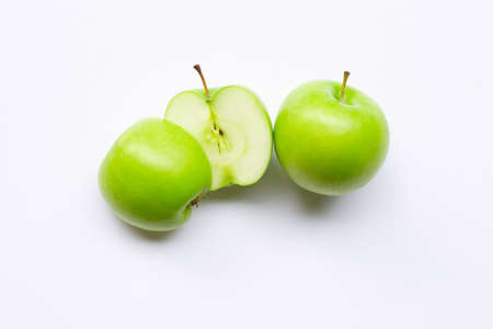 Green apples on white background. Stock Photo