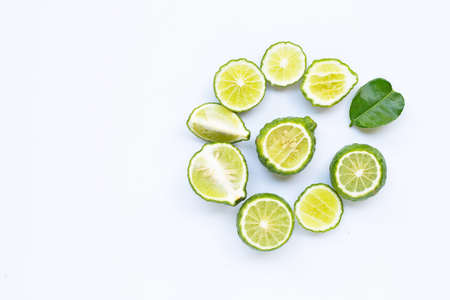 Bergamot kaffir lime herb fresh isolated on white. Copy space