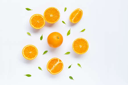 Fresh orange citrus fruit with leaves isolated on white background. Juicy and sweet Stok Fotoğraf