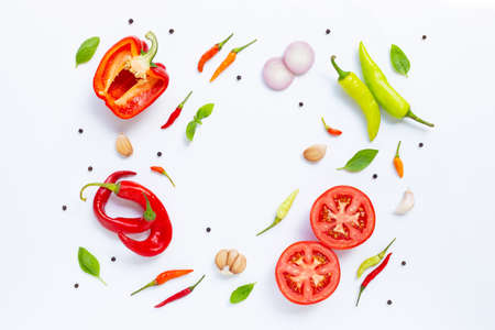 Various fresh vegetables and herbs on white background. Food and cooking ingredients, Healthy eating concept