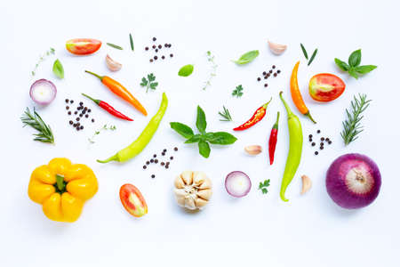 Various fresh vegetables and herbs on white background. Healthy eating concept Stock Photo - 124952177