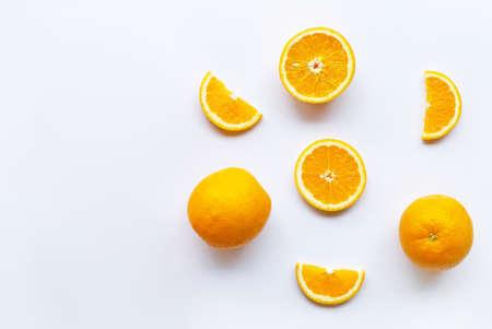 Fresh orange citrus fruits on white background. Copy space