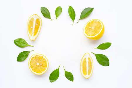 Frame made of fresh lemon with leaves isolated on white background. Stok Fotoğraf