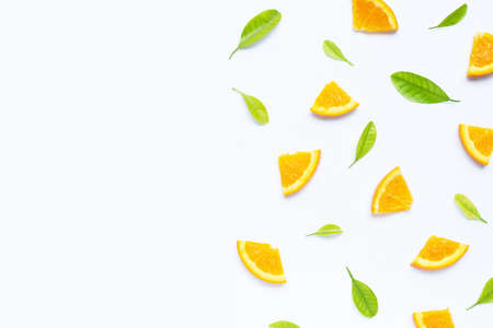 High vitamin C, Juicy and sweet. Fresh orange fruit with green leaves  on white background