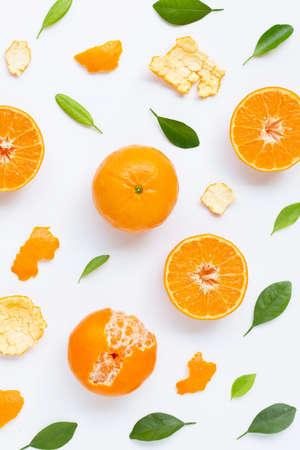High vitamin C. Fresh mandarin orange with leaves on white background. Juicy and sweet