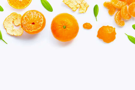 Fresh orange citrus fruit isolated on white background. Juicy, sweet and high vitamin C. Copy space 版權商用圖片