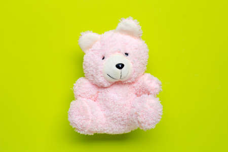 Toy pink bear on green background. Copy space