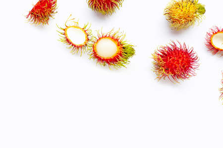 Rambutan isolated on white background. Top view Stock fotó
