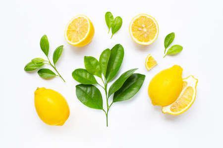 Fresh lemon with leaves isolated on white background. Archivio Fotografico
