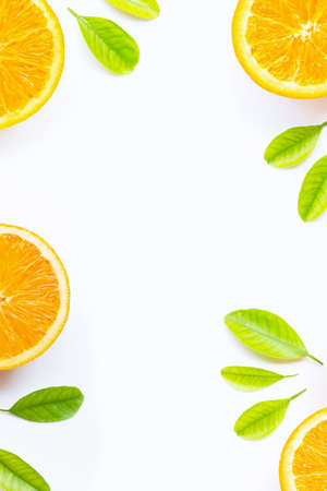 Orange with green leaves isolated on white background. Copy space
