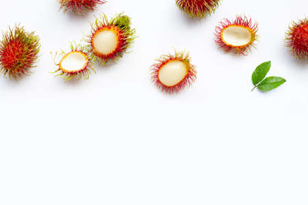 Rambutan isolated on white background. Copy space