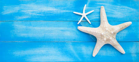 Two starfish on blue wooden background. Top view with copy space Banco de Imagens