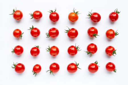 Fresh tomatoes isolated on white background. Top view