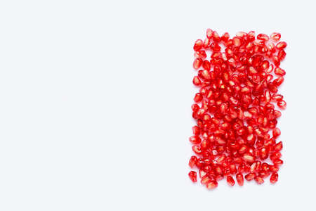 pomegranate seeds isolated on white background. Copy space 写真素材