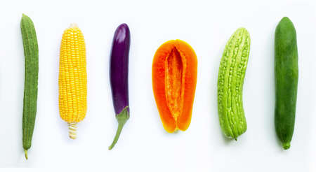 Fruit and vegetables. Luffa acutangula, corn, eggplant, papaya, bitter melon,  green papaya on white background.