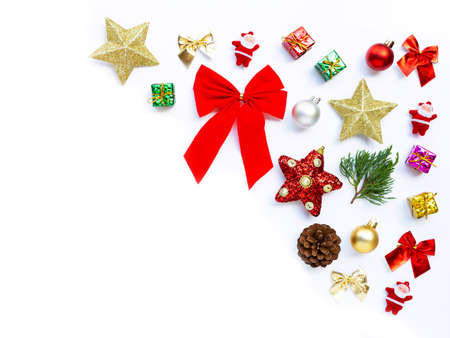 Merry Christmas and Happy Holidays, Christmas composition. gifts, pine branches and decorations on white background.