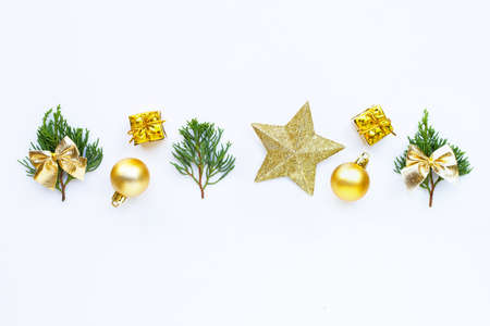 Merry Christmas and Happy Holidays, Christmas composition. gifts, pine branches and decorations on white background. Copy space 写真素材