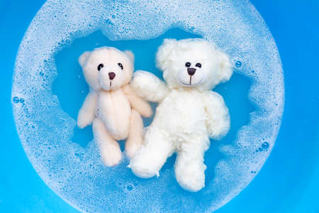 Soak  two toy bears in laundry detergent water dissolution before washing.  Laundry concept, Top view