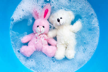Soak rabbit doll with  toy teddy bear in laundry detergent water dissolution before washing.  Laundry concept, Top view