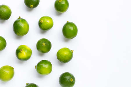 Fresh limes on white background. Copy space Stock Photo