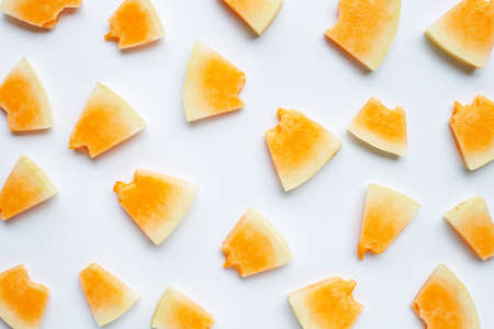 Sliced melon on white background. Top view