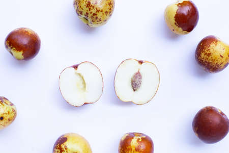 Chinese jujubes on white background. Top view