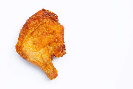 Fried chicken on white background. Copy space