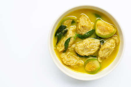 Thai food, Green Curry with fish ball on white background.