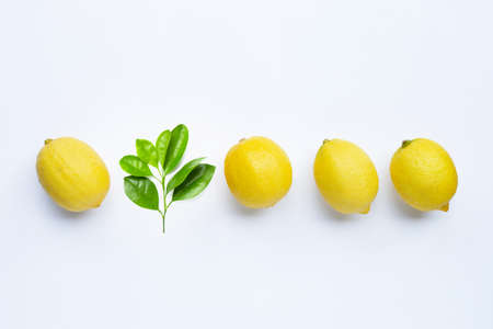 Fresh lemons with green leaves on white background. Copy space