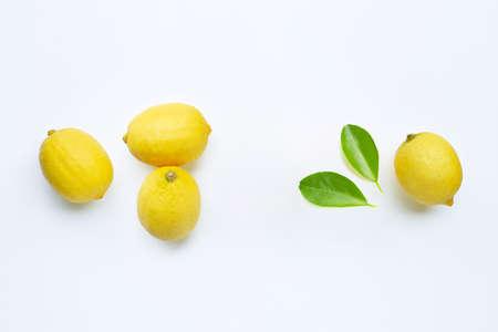 Frame made of fresh lemons on white background. Stock Photo