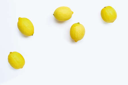 Fresh lemons on white background. Copy space Stock Photo