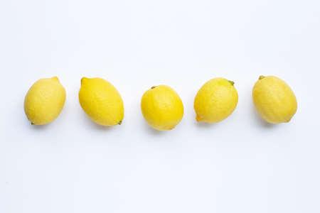 Fresh lemons on white background. Stock Photo