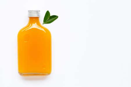 Fresh orange juice on white background.  Copy space