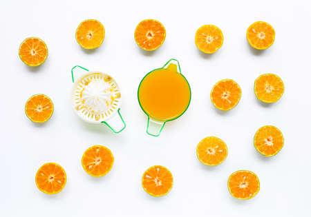 Citrus orange juicer with oranges fruit on white background.