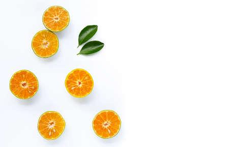 Fresh orange on white background. Copy space