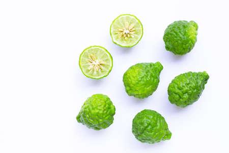 Bergamot kaffir lime herb fresh ingredient  isolated on white. Copy space