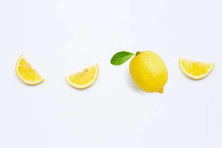 Fresh lemon with green leaf on white background.